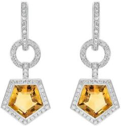 4.08ct Diamond And Aaa Citrine 14kt White Gold Circular Pentagon Hanging Earrings