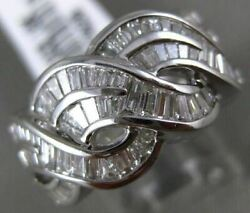 Estate Wide 1.52ct Diamond 18kt White Gold 3d Multi Row Infinity Love Knot Ring