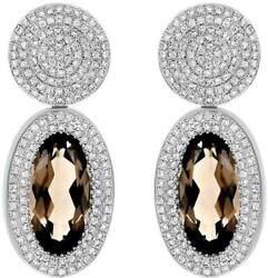 4.40ct Diamond And Aaa Smoky Topaz 14kt White Gold Oval Circular Hanging Earrings
