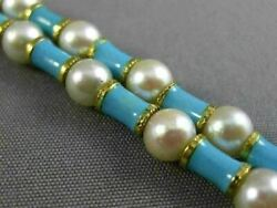 Antique Wide And Long Aaa South Sea Pearl And Blue Enamel 18kt Yellow Gold Bracelet