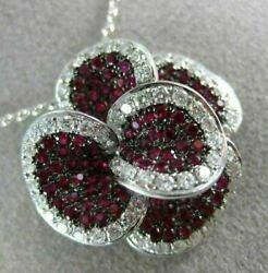 Estate Large 2.72ct Diamond And Aaa Ruby 18k White Gold Handcrafted Flower Pendant