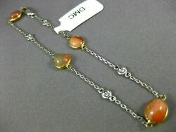 Long 5.66ct Diamond And Aaa Fire Opal 14k 2 Tone Gold Oval By The Yard Bracelet
