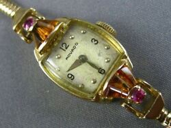 Antique 1.50ct Aaa Ruby And Citrine 14kt Yellow Gold 3d Movado Ladies Watch 20698