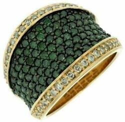 Estate Large 2.0ct White And Green Diamond 14kt Yellow Gold 3d Multi Row Fun Ring