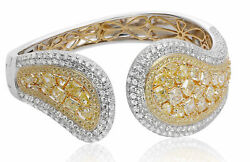 LARGE 16.42CT MULTI COLOR DIAMOND 18KT 2 TONE GOLD FLEXIBLE LOVE BANGLE BRACELET
