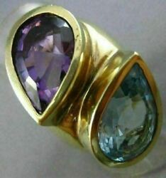 Antique Extra Large 12ct Aaa Blue Topaz And Amethyst 14kt Yellow Gold 3d Fun Ring