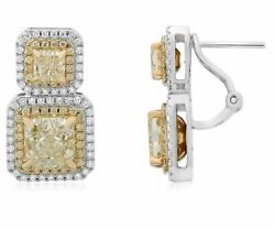 6.73CT WHITE & FANCY YELLOW DIAMOND 18K TWO TONE GOLD CLASSIC HANGING EARRINGS