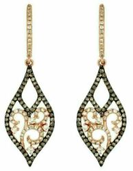 .88ct White And Chocolate Fancy Diamond 14kt Rose Gold Tear Drop Hanging Earrings
