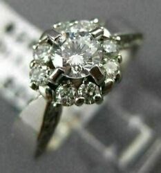 Antique Wide .90ct Diamond 14kt White Gold Round Cluster Engagement Ring 17793
