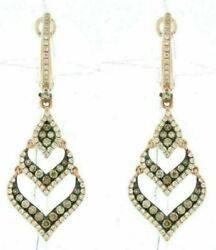 .92ct White And Chocolate Fancy Diamond 14k Rose Gold Multi Heart Journey Earrings