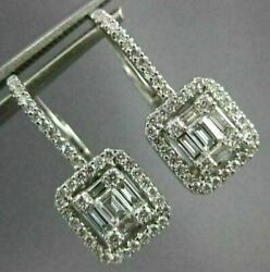.80ct Diamond 18k White Gold Round And Baguette Cluster Leverback Hanging Earrings