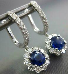 2.0ct Diamond And Aaa Sapphire 18kt White Gold Classic Flower Hanging Earrings