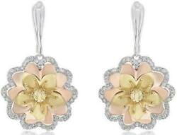 Estate 1.02ct Diamond 14kt White And Yellow Gold 3d Flower Fun Hanging Earrings