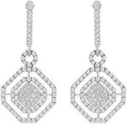 2.26CT DIAMOND 18KT WHITE GOLD CLUSTER OCTAGON DOUBLE HALO FUN HANGING EARRINGS