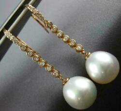 Large .35ct Diamond And Aaa South Sea Pearl 18kt Rose Gold Etoile Hanging Earrings