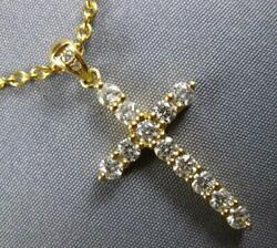 Estate .71ct Diamond 18kt Yellow Gold 3d Classic Cross Pendant With Chain