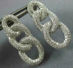 Large 1.32ct Diamond 18k White Gold 3d Multi Row Love Knot Oval Hanging Earrings