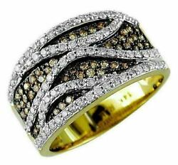 Wide .82ct White And Mocha Diamond 14k Yellow Gold Multi Row Pave Anniversary Ring