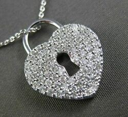 Estate Large .89ct Diamond 18k White Gold 3d Key To Your Heart Floating Necklace