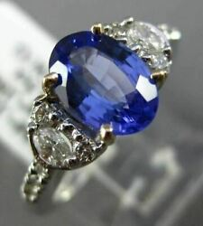 Estate 1.86ct Diamond And Aaa Tanzanite 14k White Yellow Gold Oval Engagement Ring