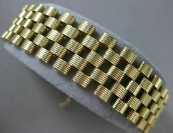 Estate Wide And Long 14kt Yellow Gold 3d Handcrafted Italian Panther Bracelet