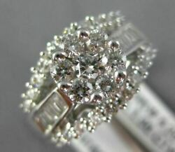 1.0ct Round And Baguette Diamond 14k White Gold 3d Flower Cluster Engagement Ring