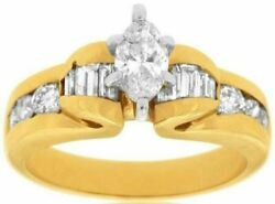 Estate 1.36ct Marquise Round And Baguette Diamond 14kt Yellow Gold Engagement Ring