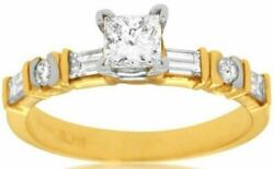 Estate .93ct Princess Round And Baguette Diamond 14kt Yellow Gold Engagement Ring