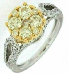 Estate Wide 1.83ct White And Fancy Yellow Diamond 14kt 2 Tone Gold 3d Promise Ring