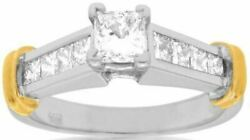 Estate 1.05ct Princess Diamond 14kt White And Yellow Gold 3d Engagement Ring