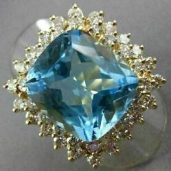 Estate Extra Large 14.50ct Diamond And Aaa Blue Topaz 14kt Yellow Gold Ring 26228