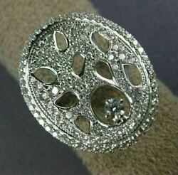 Estate Large .94ct Diamond 18kt White Gold 3d Circular Spider Web Solitaire Ring