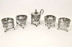 Mustard Pot 4 Salerons Solid Silver Rooster Swans Palm Leaves I Empire 19th