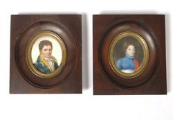 Pair Miniatures Portraits Couple Notable Woman Executive Board Empire 18andegrave 19andegrave