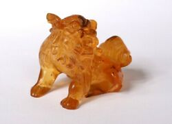 Small Sculpture Amber Dog of Fô China Lion Chinese 146gr Eighteenth Century