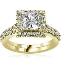 Certified 2 Ct Halo Diamond Ring Side Stones Si2 18 Kt Yellow Gold Size 6 7 8