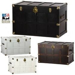 36½ Cedar Hope Chest - Amish Handmade Trunk With Brass And Leather Hardware Usa