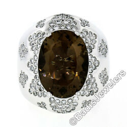 Large Bold 18k White Gold Oval Smoky Quartz 2.50ct Diamond Cluster Cocktail Ring