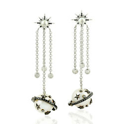 25.86ct Natural Pearl Chandelier Earrings 925 Sterling Silver Jewelry