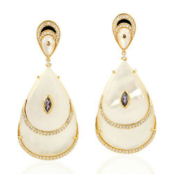 Memorial Day Gift 49.89ct Natural Iolite Dangle Earrings 18k Yellow Gold Jewelry