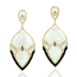 Memorial Day Gift 49.62ct Natural Iolite Dangle Earrings 18k Yellow Gold Jewelry