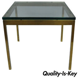 Burnished Brass Bronze Square Mid Century Modern Side Table By Scope Furniture