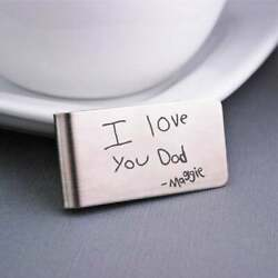 Custom Your Handwriting Men's Father Gifts Money Clip In 925 Sterling Silver