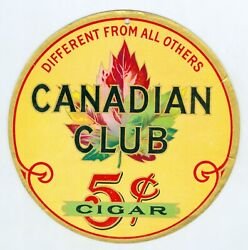 Early 1900's Canadian Club 5 Cent Cigar Cardboard 7 Inch Sign