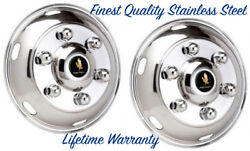 17.5 Hino 6 Lug Stainless Wheel Simulator Hubcap Liners Two Front Rim Covers ©