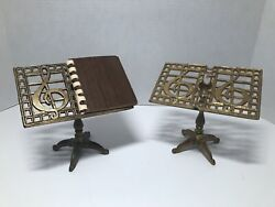 """Set Of 2 Brass Desktop Music Stand Style Notepad Holders About 5"""" Tall"""