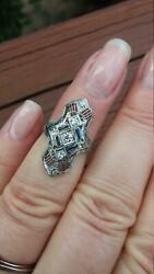 Stunning Old European Cut Cubic Zirconia With Blue Sapphire 925 Pure Silver Ring