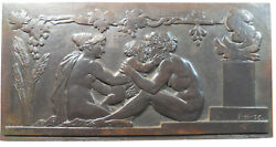 France Art Deco Nudes Theos Penates Mother Father And Child Bronze 152mm X 80mm
