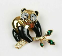 Signed Gold Plated Panda Bear Pin Brooch On Crystal Set Branch