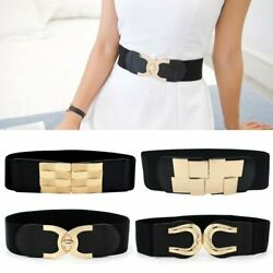 Lady Wide Fashion Belt Women Black Cinch Waist Belt Elastic Stretch US Gift